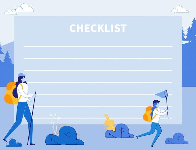 Lista de verificação para viajantes, planejador de eventos para viagens