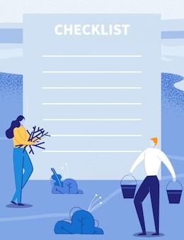 Lista de verificação, planejador de viagem com casal de viagens.