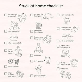 Lista de verificação presa em casa