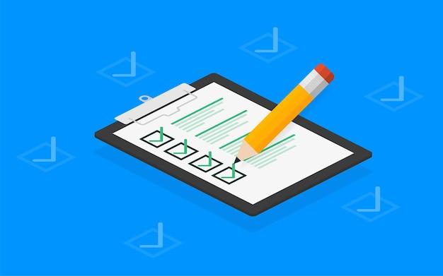 Lista de verificação tablet em branco