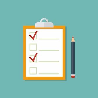 Lista de verificação, tarefas completas, lista de tarefas, pesquisa, conceitos de exame. qualidade premium. elementos gráficos de design moderno plana. prancheta marrom com marcas de seleção vermelhas e lápis