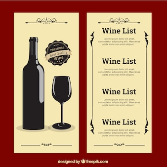 Lista de vinho no estilo do vintage