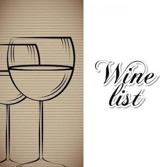 Lista de vinhos bebida cartão