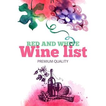 Lista de vinhos. esboço desenhado de mão e ilustração em aquarela. design do menu