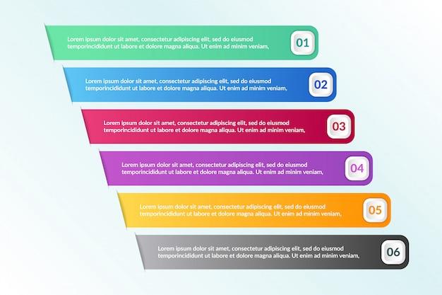 Lista infográfico design com 6 informações de listas
