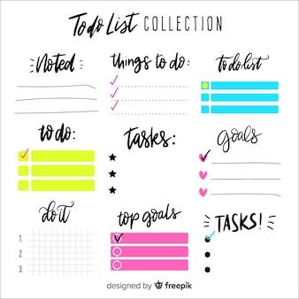 Lista linda mão desenhada para fazer coleção