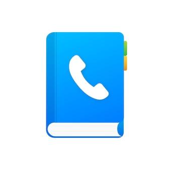 Lista telefônica azul sobre fundo branco. ícone do telefone, símbolo do telefone. ícone do serviço de suporte. ilustração em vetor das ações.