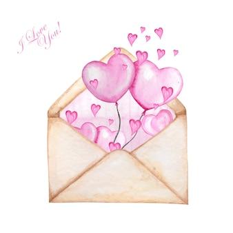 Listra de envelope postal dentro para dia dos namorados com corações voando fora.