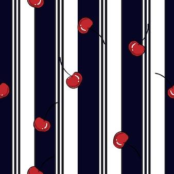 Listra de estância de verão com padrão sem emenda cereja vermelho fresco