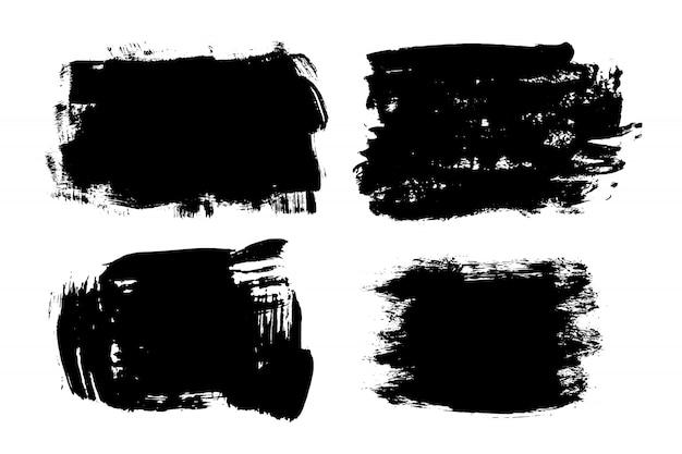 Listra de pincel de mão desenhada grunge. tinta preta de vetor