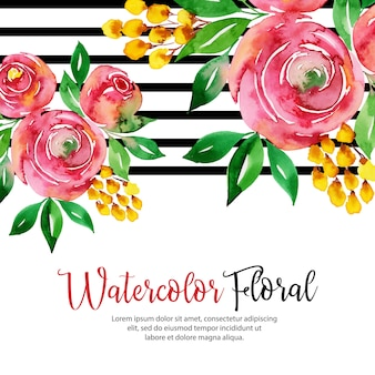 Listra preta aquarela floral