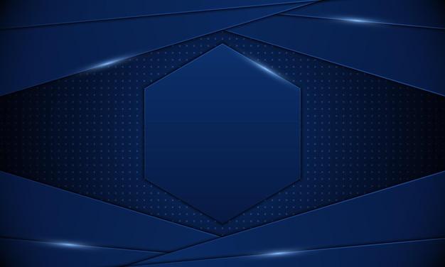 Listras azuis abstratas com hexagonal no fundo do meio .banner. ilustração vetorial.