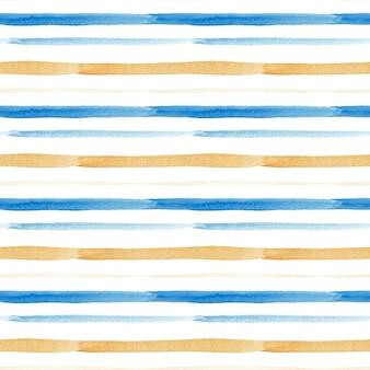 Listras azuis e douradas de padrão aquarela sem emenda