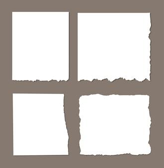 Listras brancas rasgadas, conjunto de diferentes retalhos de papel, bloco de notas, notas para texto ou mensagem presa