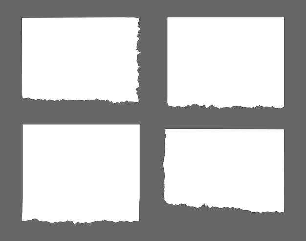 Listras brancas rasgadas, conjunto de resíduos de papel diferentes, bloco de notas, notas para texto ou mensagem presa