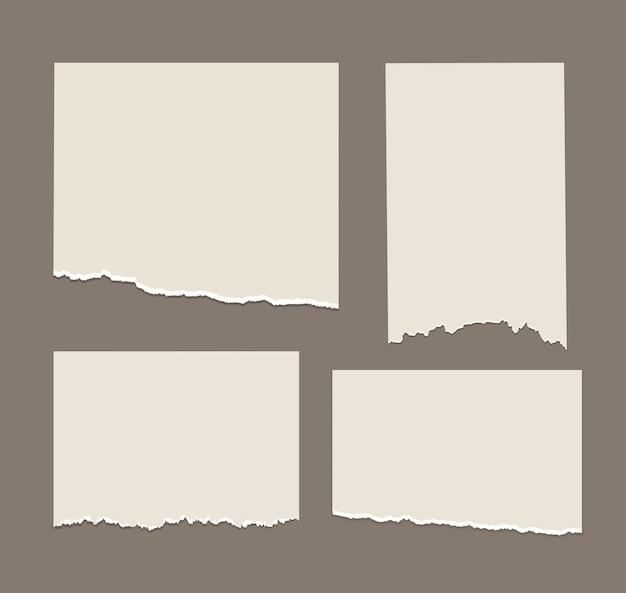 Listras brancas rasgadas recortes de papel diferentes definir notas do bloco de notas