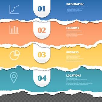 Listras coloridas de papel rasgado, modelo de infográfico de vetor com texto e ícones