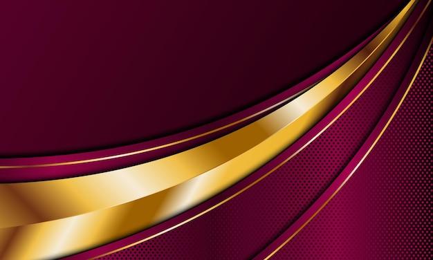 Listras curvas de luxo vermelho dourado abstrato com fundo de linhas douradas.