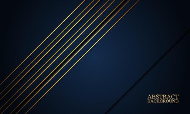 Listras da marinha abstratas e fundo de linhas douradas.