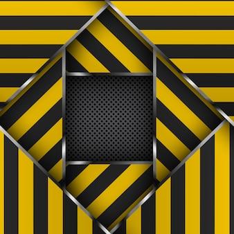 Listras de advertência amarelas e pretas em um fundo metálico