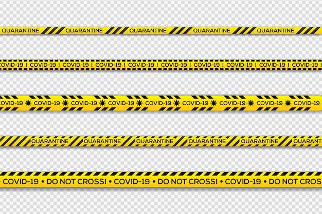 Listras de aviso de quarentena em preto e amarelo