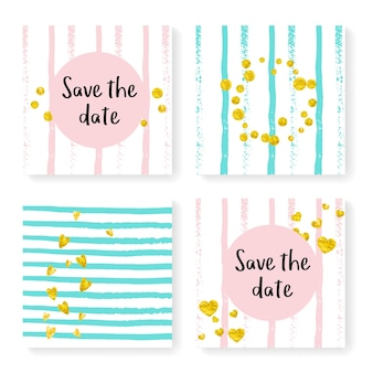 Listras de casamento com confete de glitter. conjunto de convite. corações de ouro e pontos no fundo rosa e menta. modelo com listras de casamento para festa, evento, chá de panela, salvar o cartão de data.