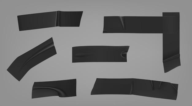 Listras de fita adesiva isolante preta para duto