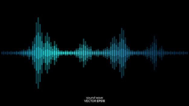 Listras de ondas sonoras nas cores verdes azuis dinâmicas fluindo sobre fundo preto no conceito de música, som.