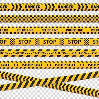Listras de perímetro de cuidado. a linha de polícia preta e amarela isolada do perigo não se cruza para a cena criminosa. sinal de linhas de segurança ou conjunto de vetores de fita de barricada