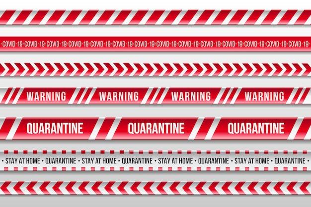 Listras de quarentena de aviso vermelho e branco realista