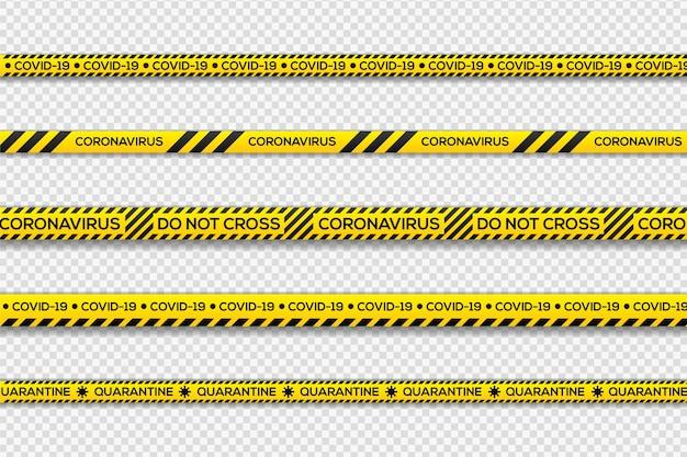 Listras de quarentena de perigo preto e amarelo
