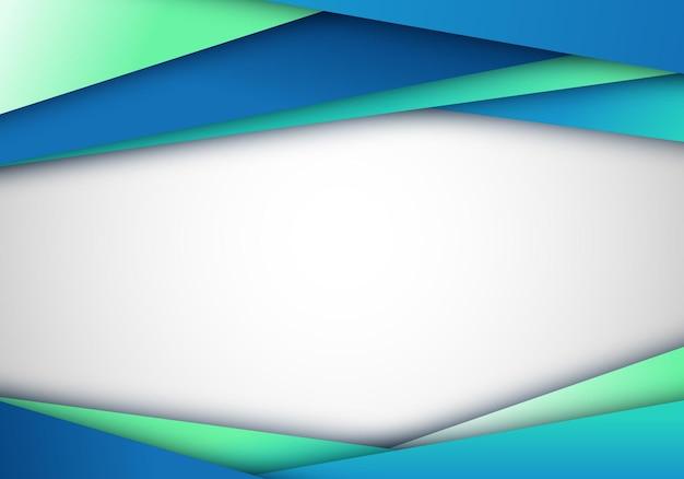Listras diagonais do modelo moderno elegante abstrato no estilo do corte do papel da cor do gradiente do verde azul de fundo branco. ilustração vetorial