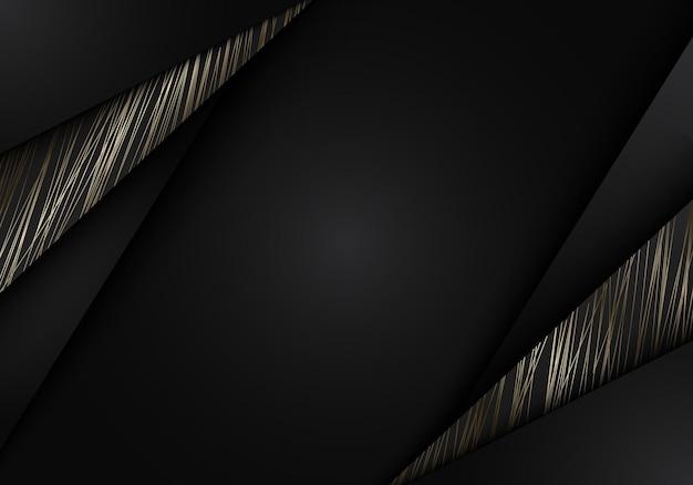 Listras pretas abstratas com linhas douradas no corte de papel de fundo escuro. estilo de luxo. ilustração vetorial