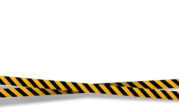 Listras pretas e amarelas, fitas de advertência. sinais de perigo. cuidado