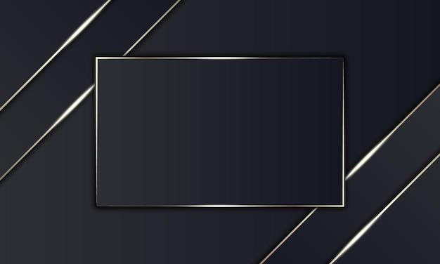 Listras pretas luxuosas e linha dourada com retângulo no meio. design para banner.