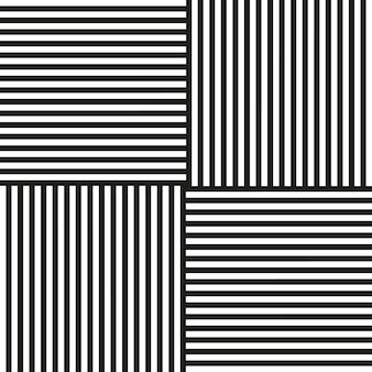 Listras preto e branco em diferentes direções vetoriais de fundo