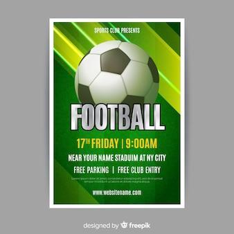 Listras verdes de modelo de cartaz de futebol