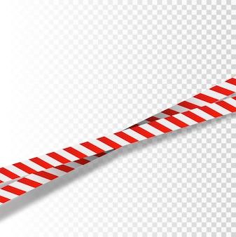 Listras vermelhas e brancas fixam fitas de advertência sinais de perigo fita de barricada de advertência não cruzam o cenário policial ...