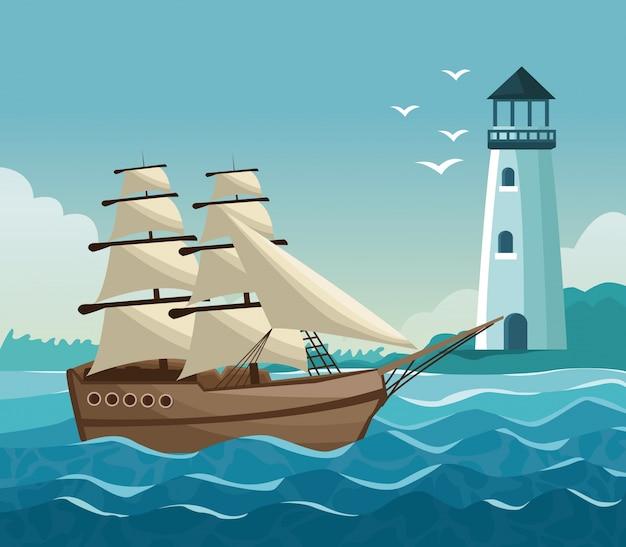 Litoral colorido com farol na costa e veleiro