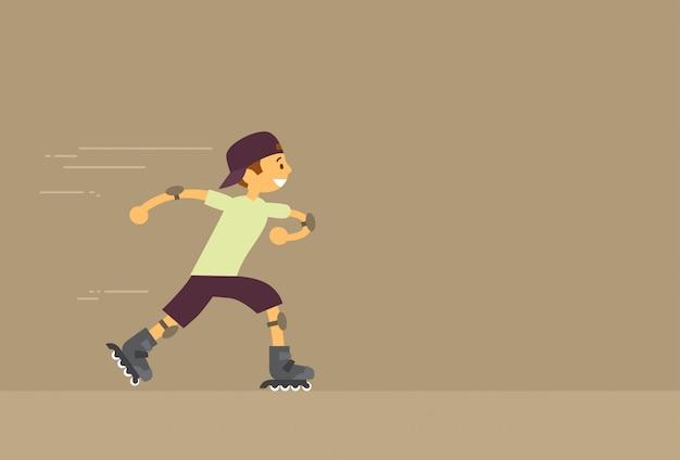 Little boy rolling roller patins plano