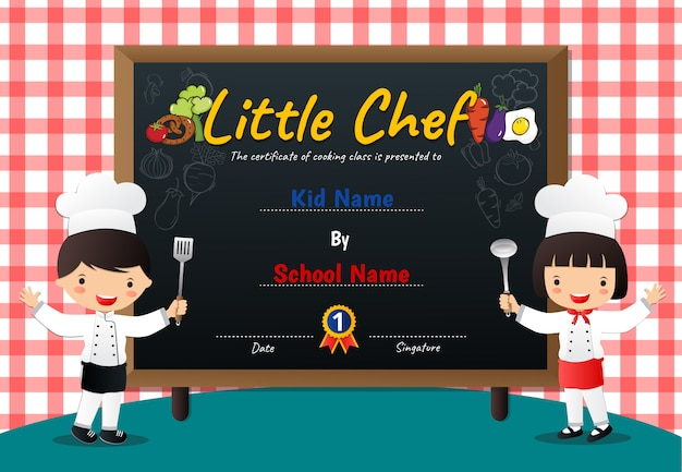 Little chef cozinhar certificado de diploma de classe
