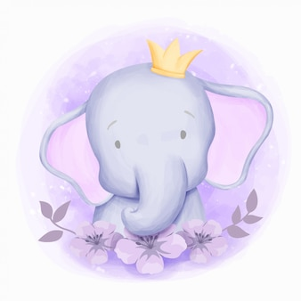 Little elephant cute portrait aquarela