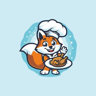 Little fox chef segurando design de mascote de frango assado