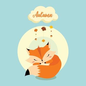 Little fox dormindo sob uma nuvem