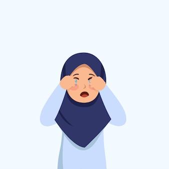 Little hijab girl cry expressão potrait cartoon ilustração vector