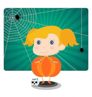 Little jack o lantern halloween girl
