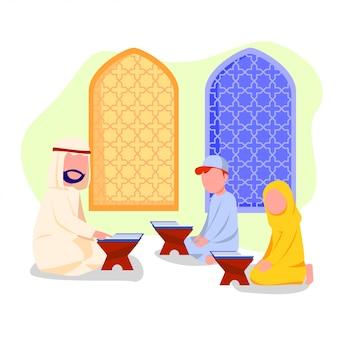 Little kids study reciting quran