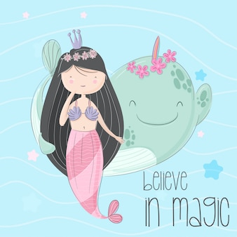 Little mermaid hand drawn illustration-vector