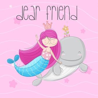 Little mermaid hand drawn illustration-vector