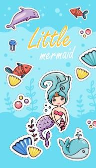 Little mermaid shells seaweeds baleias de golfinho de baleia de peixe
